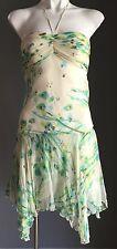 Beautiful CUE Silk Halter Neck Handkerchief Hem Dress Blue Green & Ivory Size 8