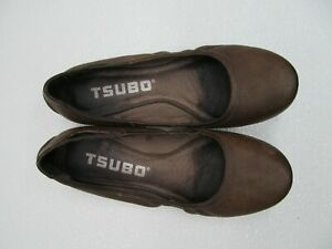 Tsubo Roana Olive Brown Leather Ballerina Ballet Driving Flats Size Women's 8.5