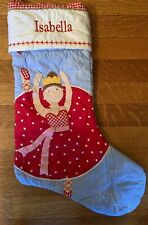 Pottery Barn Kids Dancer Quilted Gingham Christmas Stocking - Monogram ISABELLA