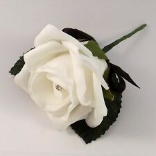 White and Black Artificial Diamante Rose Buttonhole - Wedding Flowers