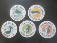 complete set of 5 ALL HANDS Micro Brewery Quueensland  Beer Coasters collectable