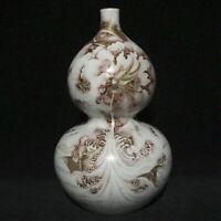 "12.8 ""Yongzheng porcelaine grisaille porcelaine Dragon Gourdes bouteille Vase"