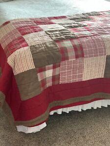 Vintage WOOLRICH HOME Patchwork Flannel Plaid Quilt Comforter 2-Shams Red 80X88
