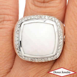 David Yurman Diamond White Agate Silver 'Albion' Halo Cocktail Ring 14.4 Gr NR