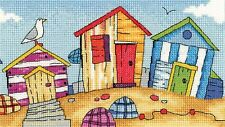 HERITAGE CRAFTS BY THE SEA BEACH HUTS COUNTED CROSS STITCH KIT BY KAREN CARTER