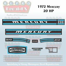1972 Mercury 20 HP Kiekhaefer Outboard Reproduction 13 Pc Marine Vinyl Decal 200