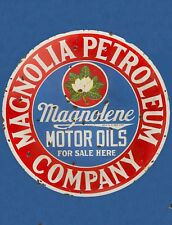 "Tin Sign ""Magnolia Petro ""Gas-Oil Signs Rustic Wall Decor"