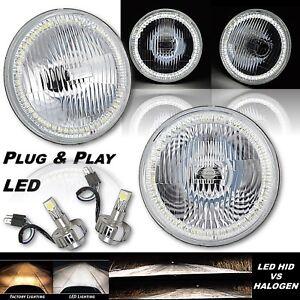"7"" SMD White Stock H4 Halo Angel Eye Headlight 18/24w LED Light Lamp Bulb Pair"