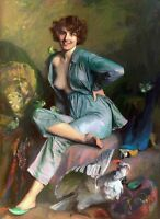 Perfect huge Oil painting beautiful young woman with her pet birds two parrots