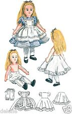 Vintage 2240 Soft Doll Pattern Alice in Wonderland Rag Doll with Clothes 18 inch