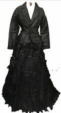 Steampunk Vittoriano Gotico corvo nero in taffetà. Vestito Taglia S