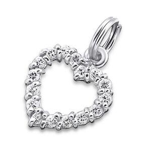 Silvadore HEART Open Love CZ 925 Sterling Silver Split Ring Charm Bracelet 028