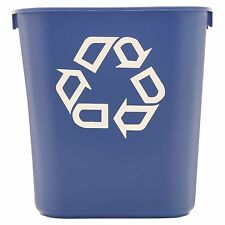 BLUE Rubbermaid Commercial Recycling Bin Plastic Container Trash Can 13 5/8 qt