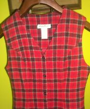 Eddie Bauer Women's Tartan Plaid Button Front Jumper Wool Christmas Dress 2 Sm