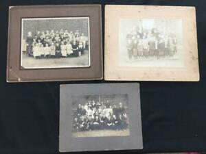 3 vintage group photo childrens school 1915 1920 teacher fashion cabinet matted