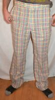 PRIME SEERSUCKER CORBIN plaid pants slacks 34 JOHN WESLEY MOORE PALM BEACH