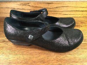 Dansko Women's Shoes Mary Janes Black Metallic Leather EUC SZ. 9.5 to 10 / 40