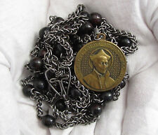 "† AUTHENTIC JESUIT c1800s ANTIQUE 5 DECADE HABIT BELT ROSARY BRASS MEDAL 65"" †"