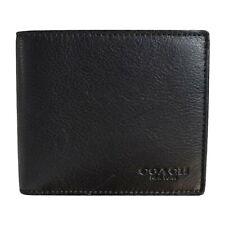 NWT COACH Compact ID Wallet Billfold Case Card Insert Bifold Fold Black F74991