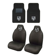 Hockey Los Angeles Kings Seat Covers Set w/ Carpet Front Floor Mats 4PC Combo