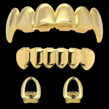 14k Gold Plated Hip Hop Teeth Grillz Caps Fang Top & Bottom 2 Single Open Tooth