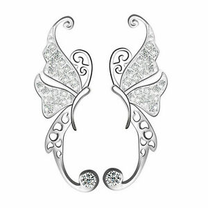 Sterling Silver Paved CZ Butterfly Wing Cuff Post Climber Crawler Earrings