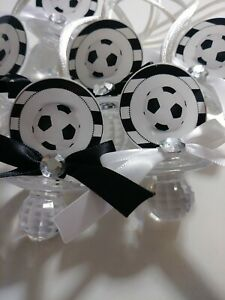 12 Soccer Balls Baby Shower Pacifier Necklaces Favors
