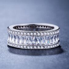 Women 925 Silver Princess Cut White Sapphire Elegant Wedding Ring Size 8