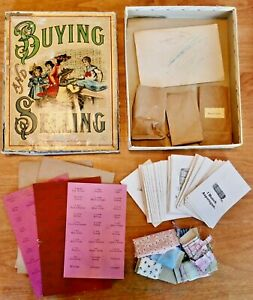 """SELDOM SEEN Antique c1900- GAME OF """"BUYING AND SELLING"""" PLAYSET -PLAY STORE-M.B."""
