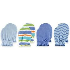 Luvable Friends 4 Scratch Mittens Baby Boy Blue Pattern Stripes New