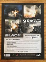 Black PS2 Playstation 2 Xbox 2006 Vintage Video Game Poster Ad Art Rare EA FPS