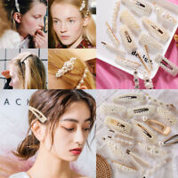 Fashion Pearl Hair Pin Snap Barrette Hair Clips Geometry Womens Hair Accessories