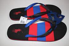 NWT RALPH LAUREN Size 12 Mens Black Red Striped Logo WHITLEBURY Flip Flop Sandal