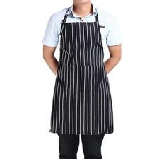 Chef Adult Black Stripe Bib Apron With 2 Pockets- Kitchen Waiter Cook
