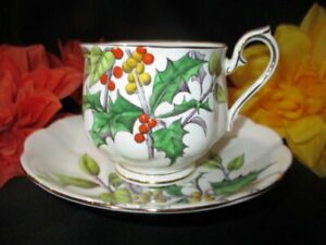 CUP SAUCER ROYAL ALBERT EARLY SET HOLLY HAND PAINTED YELLOW & ORANGE BERRIES