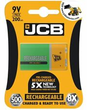 1 x JCB 9v PP3 200mAh RECHARGEABLE BATTERY READY TO USE PRE-CHARGED