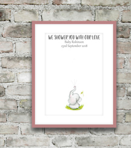 Personsalised Baby Shower Fingerprint Birth Keepsake Gift Poster Print A4 PR146