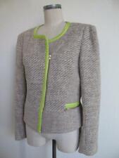 Yoana Baraschi Jacket 12 Sparkle Tweed Asymmetrical Zip Taupe Lime Green Trim