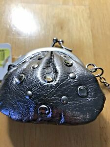 Fossil Leather Coin Purse Keychain Silver/Gray New w/Tags