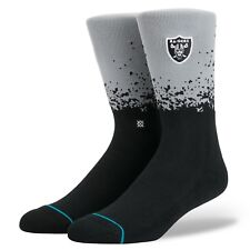 NEW STANCE SOCKS NFL RAIDERS FADE M558C17RAF BLK | BLACK Mens Large 9-12