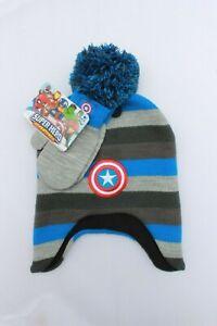 Marvel Avengers Boys Toddler Winter Hat Gloves Kids Gift Toy Superhero Captain