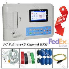 US FDA 3 Channel 12 leads ECG / EKG machine +software Electrocardiograph ECG300G