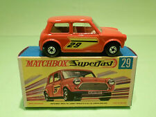 MATCHBOX LESNEY 29 RACING MINI -RED/ORANGE - RARE SELTEN - MINT CONDITION IN BOX