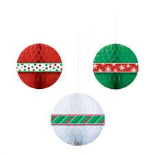 3 X NATALE A NIDO D'APE 3D da appendere decorazioni a sfera Rosso Bianco Verde 29.2 cm