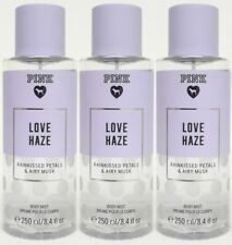 3 Victoria's Secret Pink LOVE HAZE Rainkissed Petals & Airy Musk Body Mist
