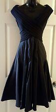 ADRIANNA PAPELL Taffeta Fit & Flare Dress Black Size 8 Stretch