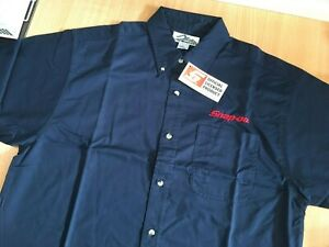 """Snap-On Tools Mens Black Short Sleeved Embroidered Shirt Large 46"""" Chest New"""
