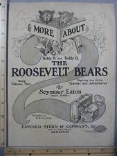 Rare Original VTG 1907 Roosevelt Bears Seymour Eaton Advertising Art Print