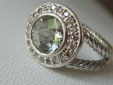 $650 DAVID YURMAN , SS ALBION SAGE PRASIOLITE DIAMOND ICE RING sz7