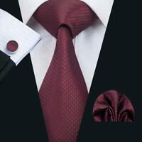 Pure Silk Neck Tie Cuff-links & Handkerchief Set Red with Black Honeycomb Motif